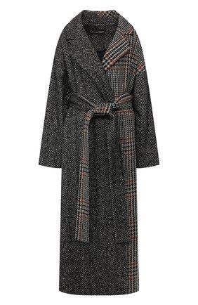 Женское пальто из смеси шерсти и шелка OSCAR DE LA RENTA темно-серого цвета, арт. 19FN814HGT | Фото 1