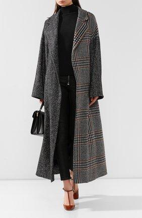 Женское пальто из смеси шерсти и шелка OSCAR DE LA RENTA темно-серого цвета, арт. 19FN814HGT | Фото 2