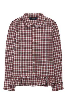Детское хлопковая блузка POLO RALPH LAUREN разноцветного цвета, арт. 311760370 | Фото 1