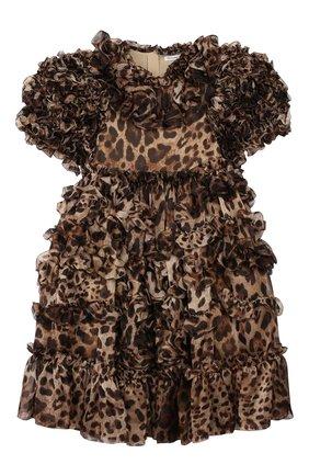 Детское шелковое платье DOLCE & GABBANA коричневого цвета, арт. L51DS8/HS15L/8-14 | Фото 1