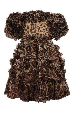 Детское шелковое платье DOLCE & GABBANA леопардового цвета, арт. L51DS8/HS15L/2-6 | Фото 2 (Рукава: Короткие; Материал подклада: Шелк; Материал внешний: Шелк; Статус проверки: Проверена категория; Девочки Кросс-КТ: Платье-одежда; Случай: Повседневный; Ростовка одежда: 2 года | 92 см, 3 года | 98 см, 4 года | 104 см, 5 лет | 110 см, 6 лет | 116 см)