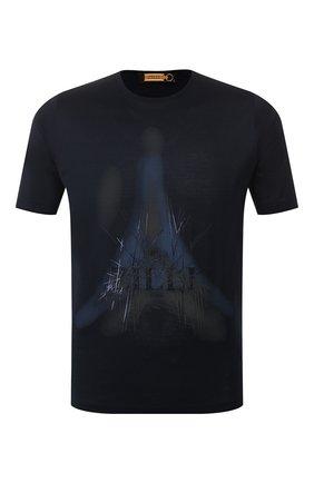 Мужская хлопковая футболка ZILLI темно-синего цвета, арт. MES-NT220-FIRE1/MC01/66-68   Фото 1