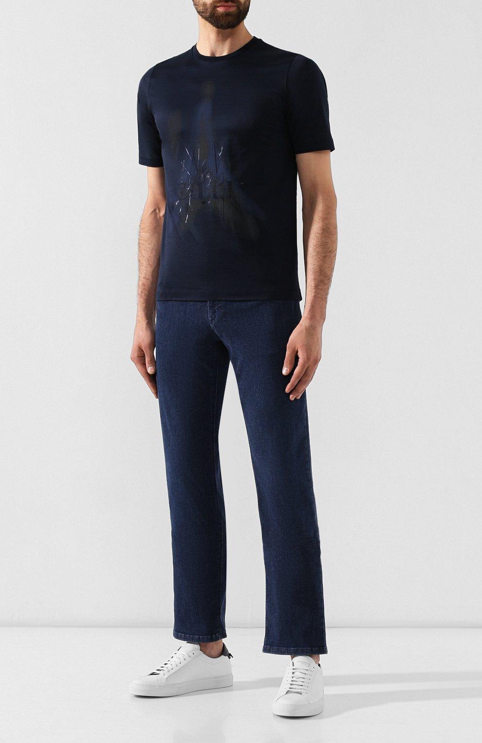 Мужская хлопковая футболка ZILLI темно-синего цвета, арт. MES-NT220-FIRE1/MC01/66-68   Фото 2