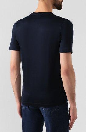 Мужская хлопковая футболка ZILLI темно-синего цвета, арт. MES-NT220-FIRE1/MC01/66-68   Фото 4