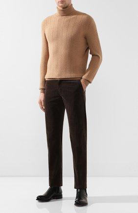 Мужской хлопковые брюки KITON коричневого цвета, арт. UFPPTMJ03S66   Фото 2