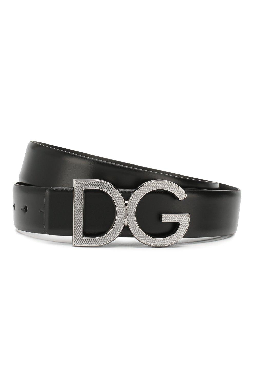 Мужской кожаный ремень DOLCE & GABBANA черного цвета, арт. BC4312/A1607 | Фото 1