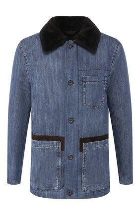 Мужская хлопковая куртка с меховой отделкой BRIONI голубого цвета, арт. SGMZ0L/08D44 | Фото 1