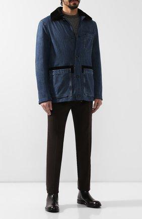 Мужская хлопковая куртка с меховой отделкой BRIONI голубого цвета, арт. SGMZ0L/08D44 | Фото 2