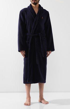 Мужской хлопковый халат RALPH LAUREN темно-синего цвета, арт. 714621695 | Фото 2