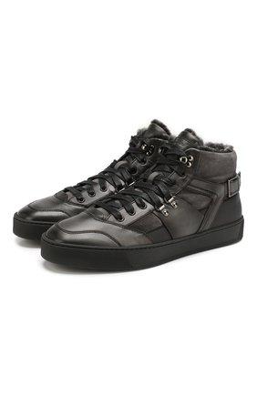 Мужские кожаные кеды SANTONI серого цвета, арт. MBGL21230NE0PLVRG62 | Фото 1