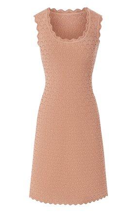 Женское платье из вискозы ALAIA бежевого цвета, арт. 9W9RM85CM496 | Фото 1