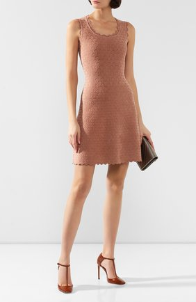 Женское платье из вискозы ALAIA бежевого цвета, арт. 9W9RM85CM496 | Фото 2