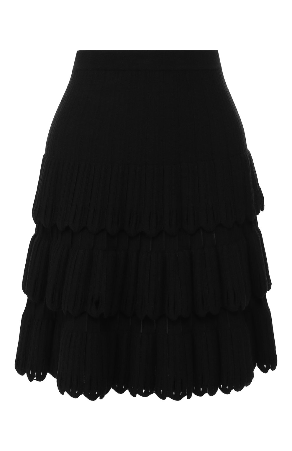 Женская юбка из смеси шерсти и вискозы ALAIA черного цвета, арт. 9W9JE30CM486   Фото 1