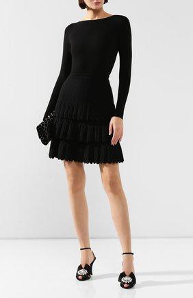 Женская юбка из смеси шерсти и вискозы ALAIA черного цвета, арт. 9W9JE30CM486   Фото 2