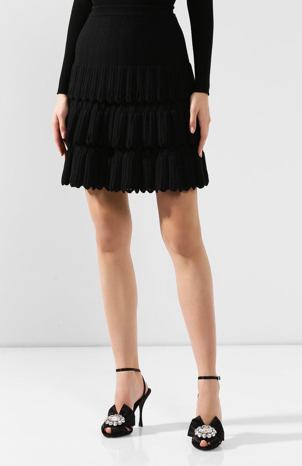 Женская юбка из смеси шерсти и вискозы ALAIA черного цвета, арт. 9W9JE30CM486   Фото 3