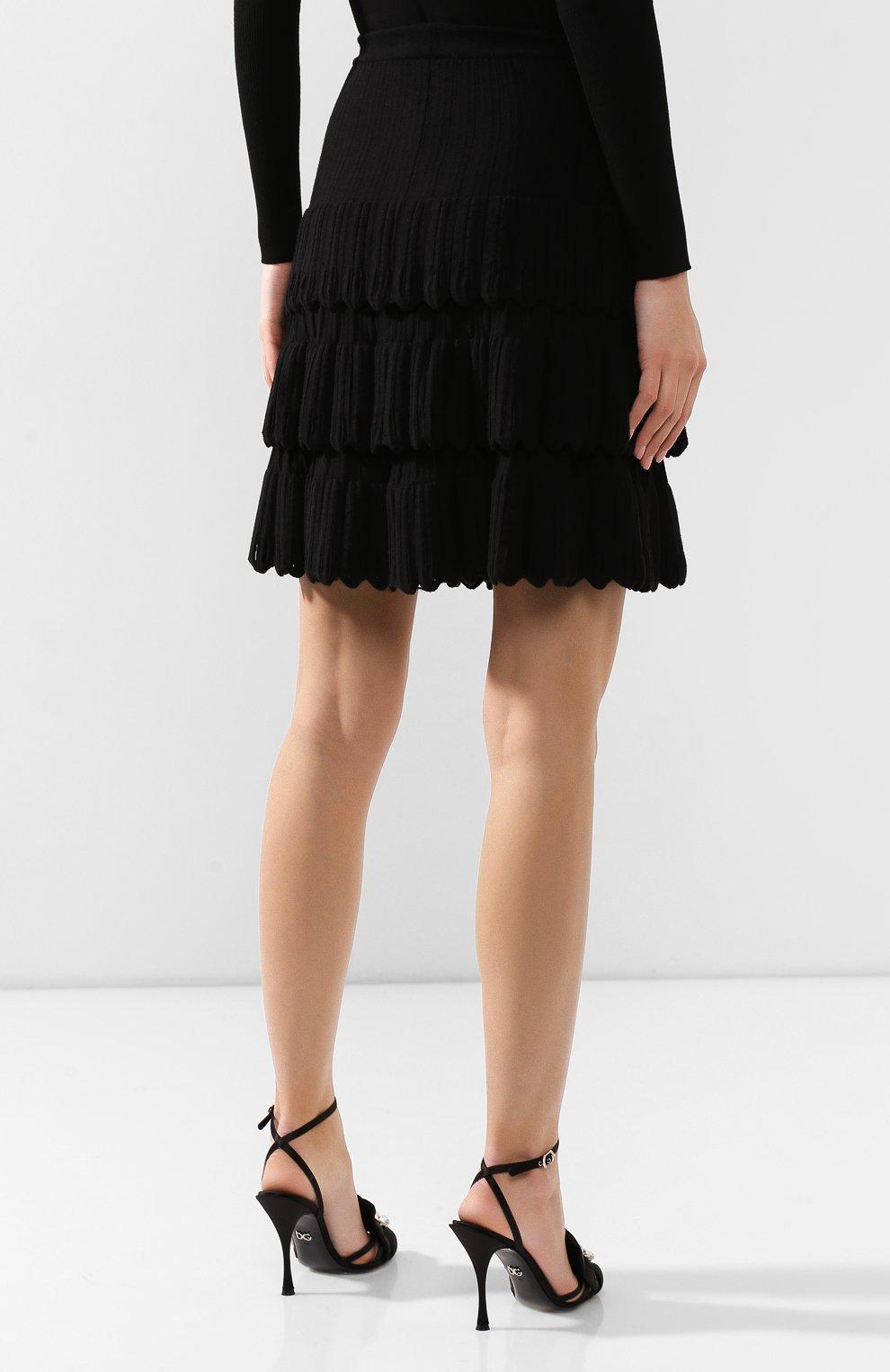 Женская юбка из смеси шерсти и вискозы ALAIA черного цвета, арт. 9W9JE30CM486   Фото 4