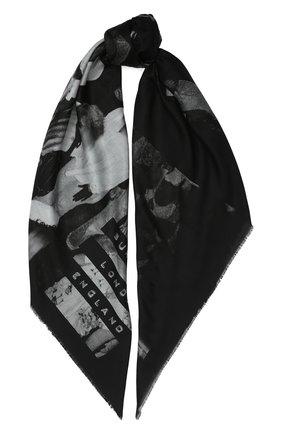 Женский платок из смеси хлопка и шелка BURBERRY черного цвета, арт. 8021734 | Фото 1