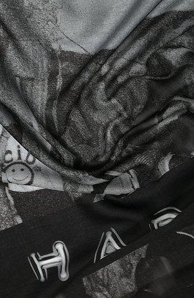 Женский платок из смеси хлопка и шелка BURBERRY черного цвета, арт. 8021734 | Фото 2
