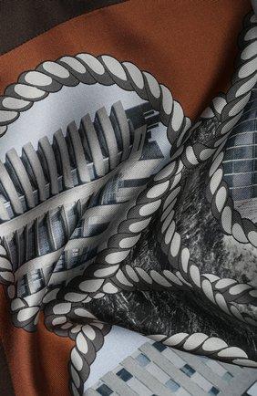 Женский шелковый платок BURBERRY коричневого цвета, арт. 8021850 | Фото 2