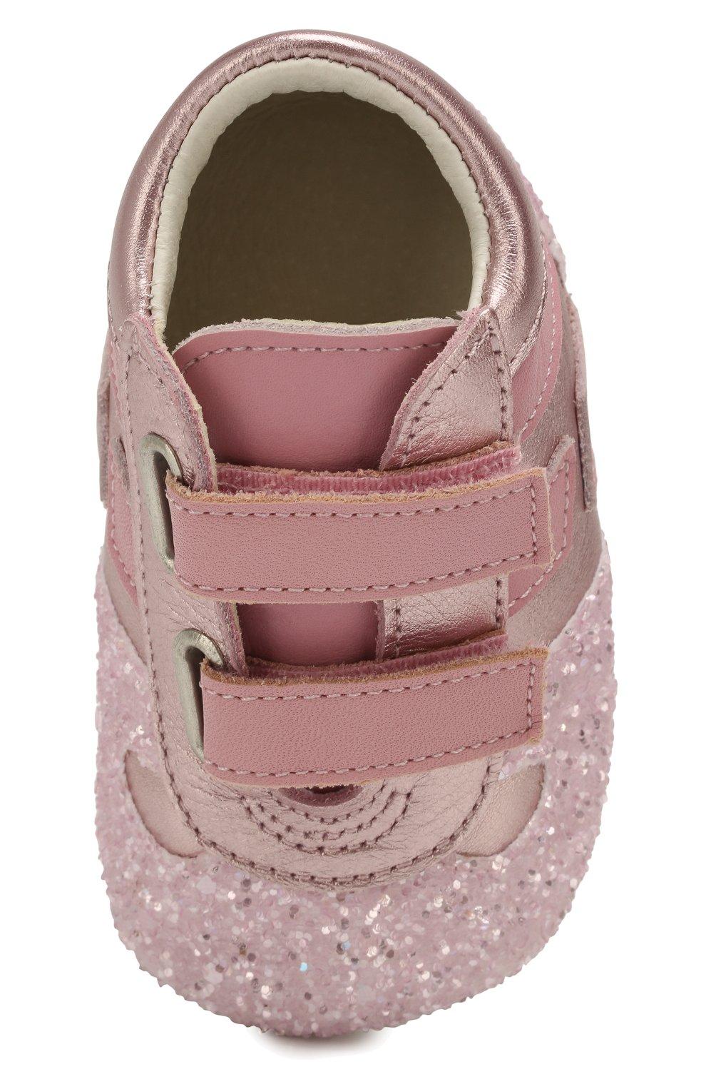 Детского кожаные пинетки HOGAN розового цвета, арт. HXB0570Z330JTX | Фото 4