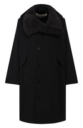 Шерстяное пальто с меховой отделкой   Фото №1