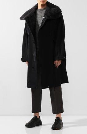 Шерстяное пальто с меховой отделкой   Фото №2