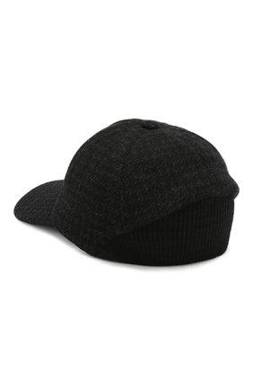 Мужской кашемировая бейсболка CORNELIANI черного цвета, арт. 840336-9829203/00 | Фото 2