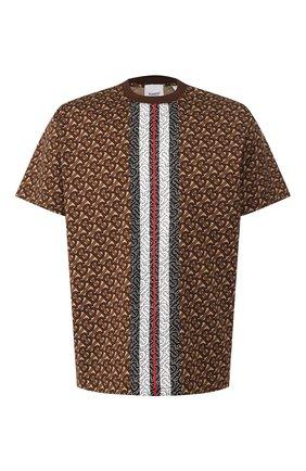 Мужская хлопковая футболка BURBERRY коричневого цвета, арт. 8018239 | Фото 1