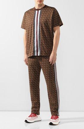 Мужская хлопковая футболка BURBERRY коричневого цвета, арт. 8018239 | Фото 2