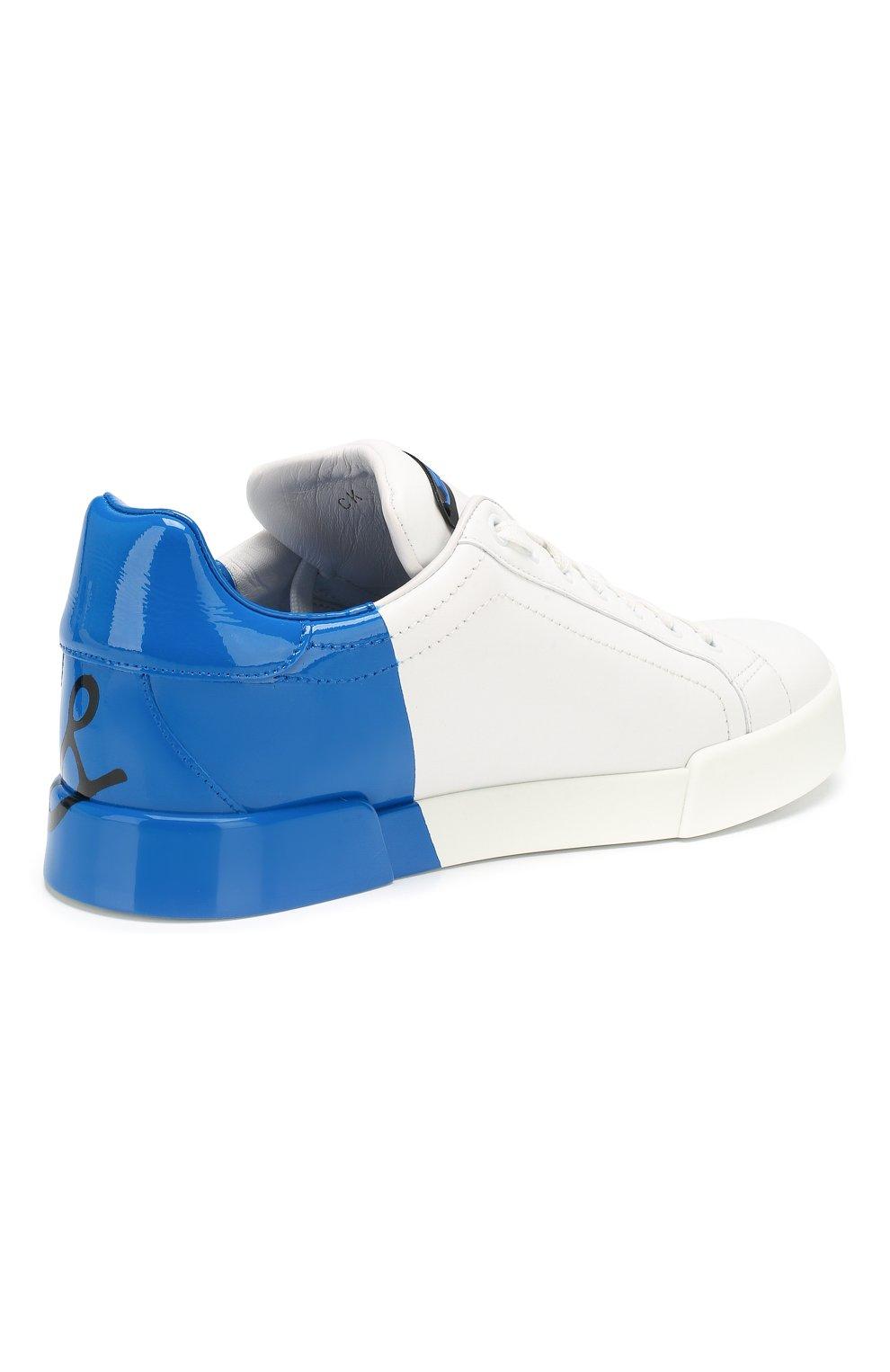Женские кожаные кеды portofino DOLCE & GABBANA синего цвета, арт. CK0124/AI053 | Фото 4
