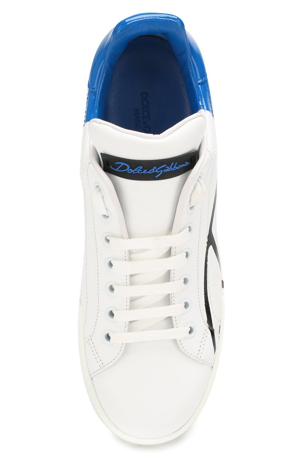 Женские кожаные кеды portofino DOLCE & GABBANA синего цвета, арт. CK0124/AI053 | Фото 5