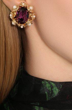 Женские серьги-клипсы DOLCE & GABBANA золотого цвета, арт. WEL6B1/W1111 | Фото 2