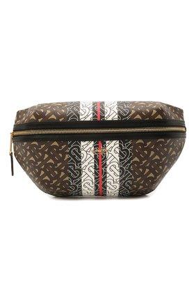 Женская поясная сумка sonny medium BURBERRY коричневого цвета, арт. 8021483   Фото 1 (Материал: Экокожа; Стили: Классический; Кросс-КТ: другое; Застежка: Молния; Размер: medium)