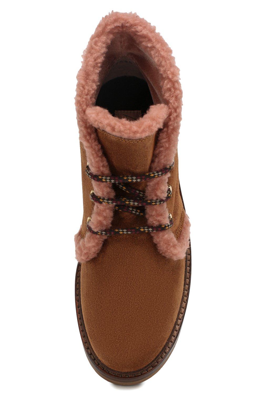 Женские замшевые ботинки AGL коричневого цвета, арт. D717586VZKW031C580 | Фото 5