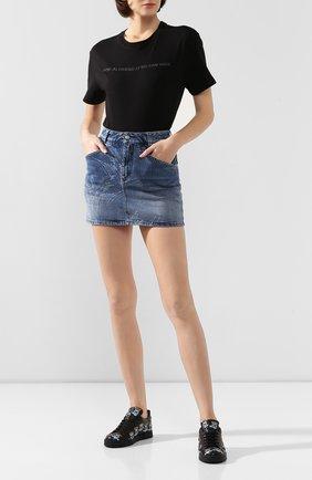 Женские кожаные кеды portofino DOLCE & GABBANA черного цвета, арт. CK0150/AI692 | Фото 2