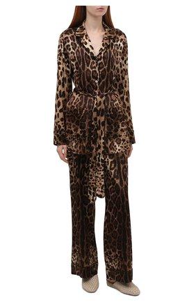 Женские шелковые брюки DOLCE & GABBANA коричневого цвета, арт. FTAMPT/FSAXY | Фото 2