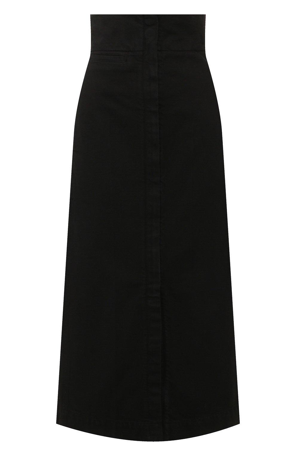 Женская джинсовая юбка LEMAIRE черного цвета, арт. W 194 SK233 LD034 | Фото 1 (Кросс-КТ: Деним; Материал внешний: Хлопок, Деним; Длина Ж (юбки, платья, шорты): Макси; Стили: Кэжуэл; Статус проверки: Проверена категория)