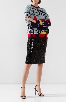 Женская юбка с пайетками WEILL черного цвета, арт. 112010 | Фото 2 (Материал подклада: Синтетический материал; Длина Ж (юбки, платья, шорты): До колена; Материал внешний: Синтетический материал, Полиэстер; Статус проверки: Проверена категория)