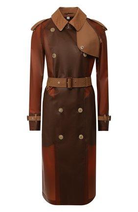 Женский тренч c поясом BURBERRY коричневого цвета, арт. 8016925   Фото 1 (Рукава: Длинные; Длина (верхняя одежда): До колена; Статус проверки: Проверена категория; Материал внешний: Синтетический материал; Стили: Гламурный)