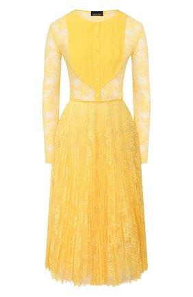 Женское кружевное платье ERMANNO ERMANNO SCERVINO желтого цвета, арт. 45T AB58 PIZ   Фото 1