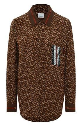 Женская шелковая рубашка BURBERRY коричневого цвета, арт. 8018127 | Фото 1
