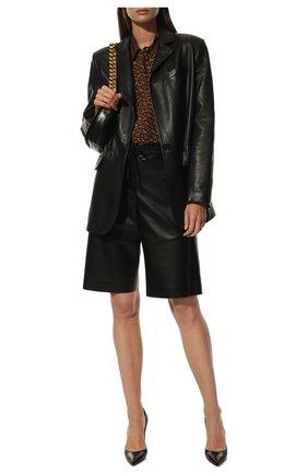 Женская шелковая рубашка BURBERRY коричневого цвета, арт. 8018127 | Фото 2