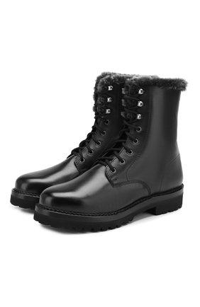 Мужские кожаные ботинки RALPH LAUREN черного цвета, арт. 815775170 | Фото 1