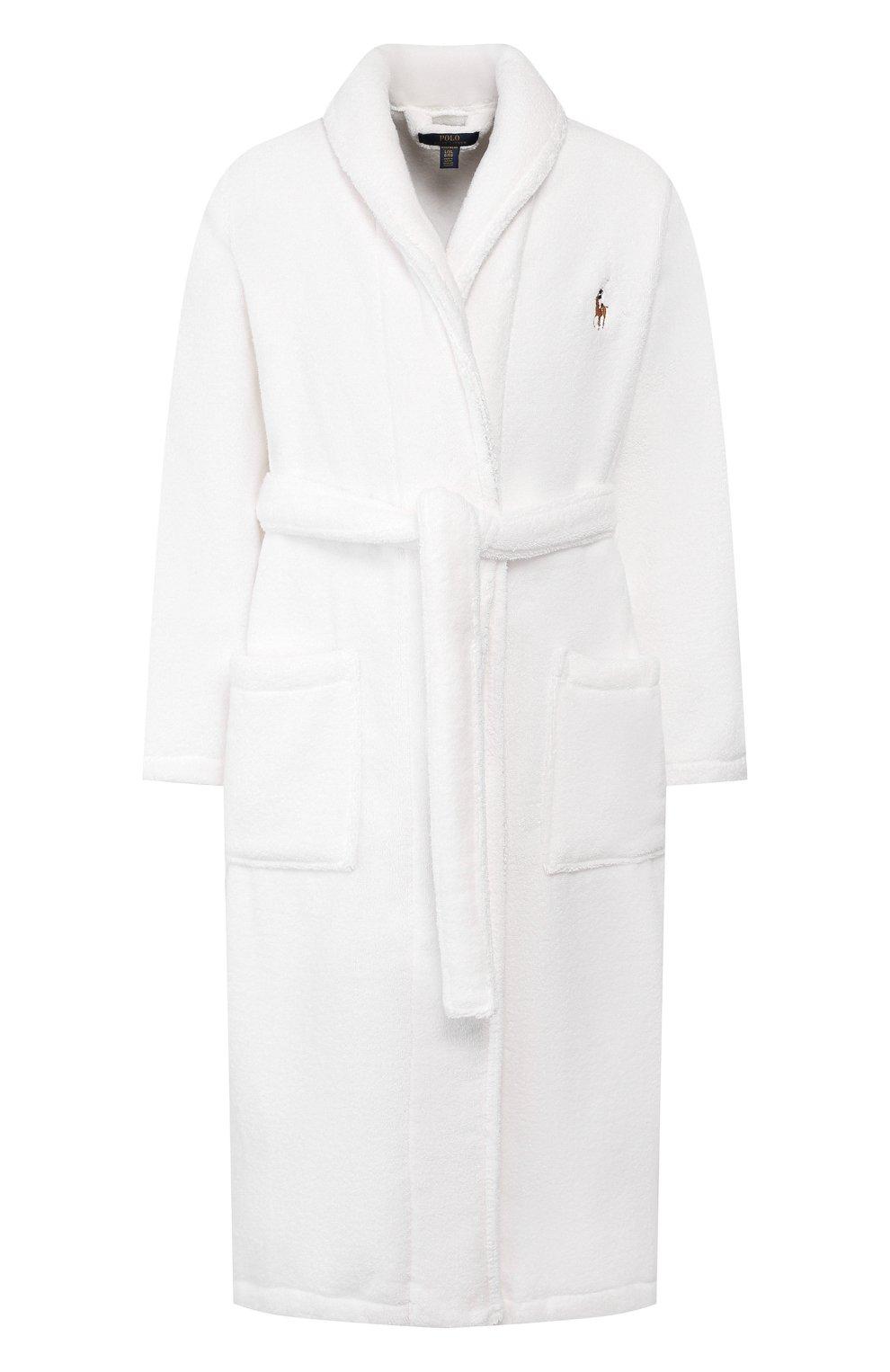Мужской хлопковый халат POLO RALPH LAUREN белого цвета, арт. 714621695   Фото 1