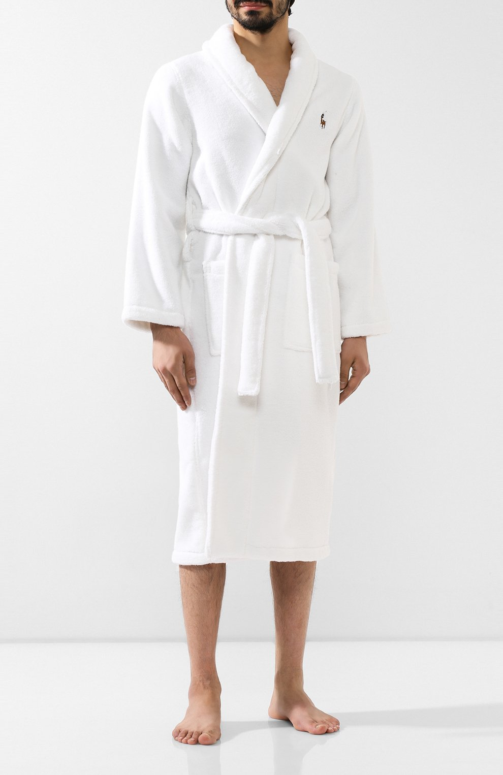 Мужской хлопковый халат POLO RALPH LAUREN белого цвета, арт. 714621695   Фото 2