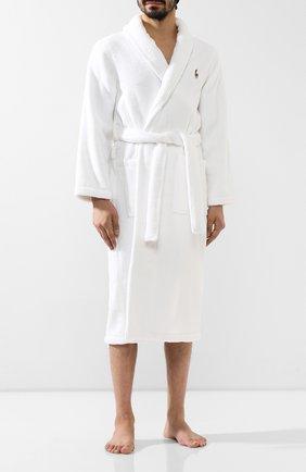 Мужской хлопковый халат POLO RALPH LAUREN белого цвета, арт. 714621695 | Фото 2