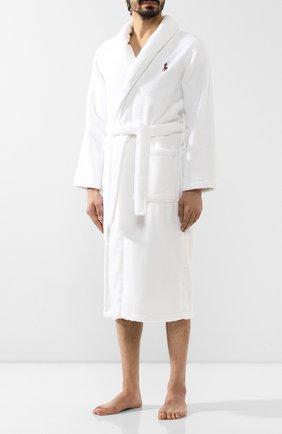Мужской хлопковый халат POLO RALPH LAUREN белого цвета, арт. 714621695   Фото 3