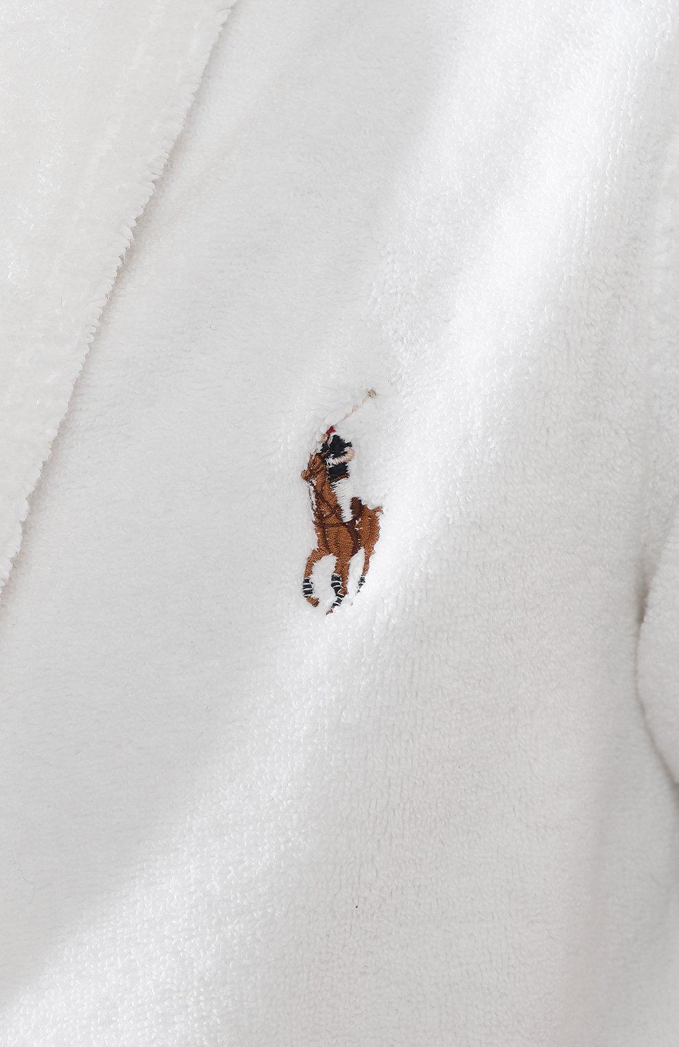Мужской хлопковый халат POLO RALPH LAUREN белого цвета, арт. 714621695   Фото 5