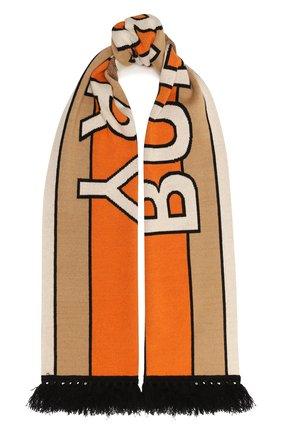 Мужской кашемировый шарф BURBERRY бежевого цвета, арт. 8019589 | Фото 1