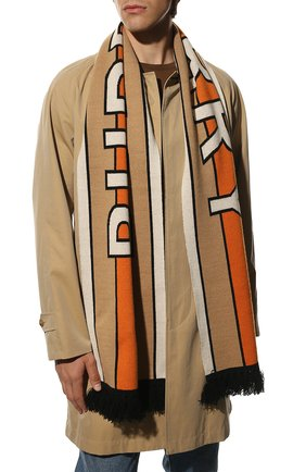 Мужской кашемировый шарф BURBERRY бежевого цвета, арт. 8019589 | Фото 2